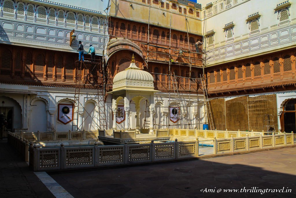 Karan Mahal with the coronation throne in Junagarh Fort Bikaner