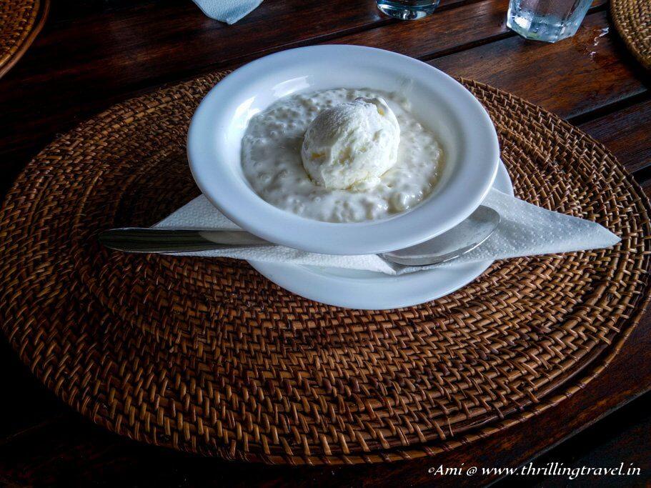 Sagoo with Coconut Ice cream - a Mauritian dessert at Varangue Sur Morne, Chamarel
