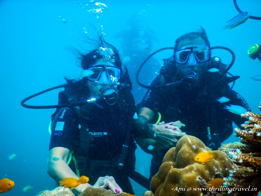 Ash and me scuba diving in Andamans - my fantasy underwater wedding
