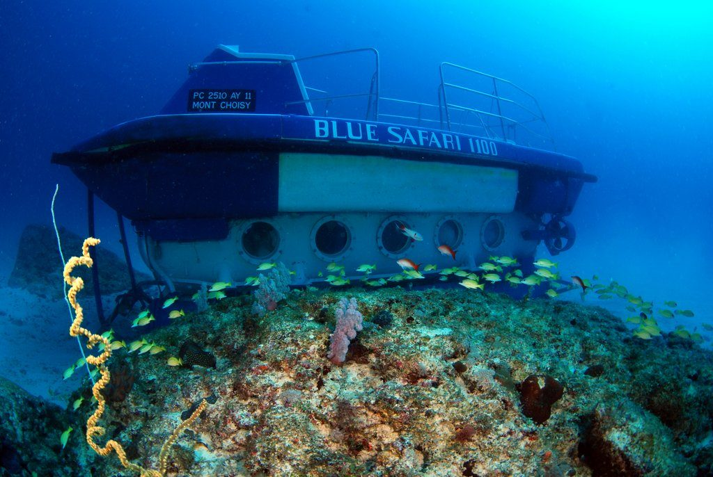 Blue Safari Submarine - Perfect for weddings in Mauritius deep under water