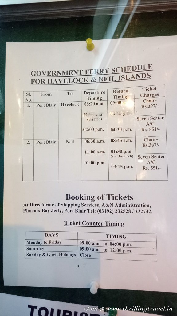 Timings for Government Ferry at Andamans