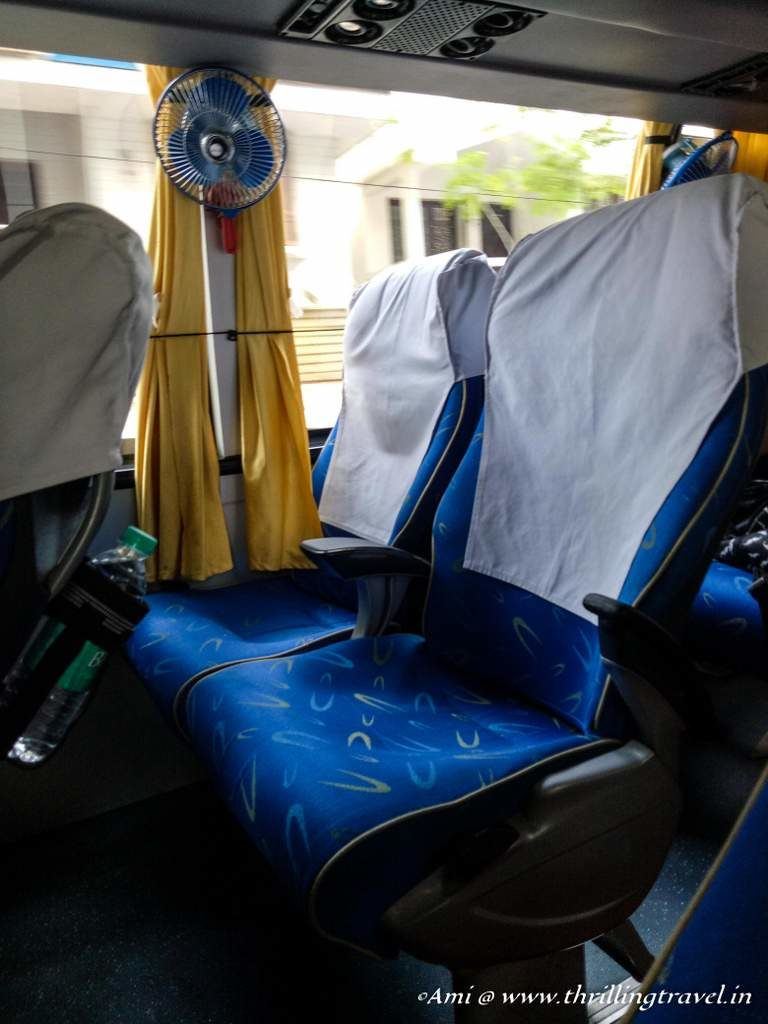 Comfortable seats within the bus
