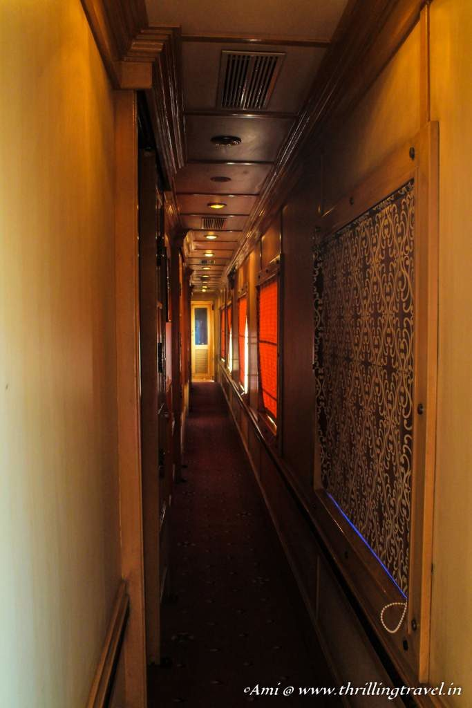 The corridors of one of the coaches of the Golden Chariot