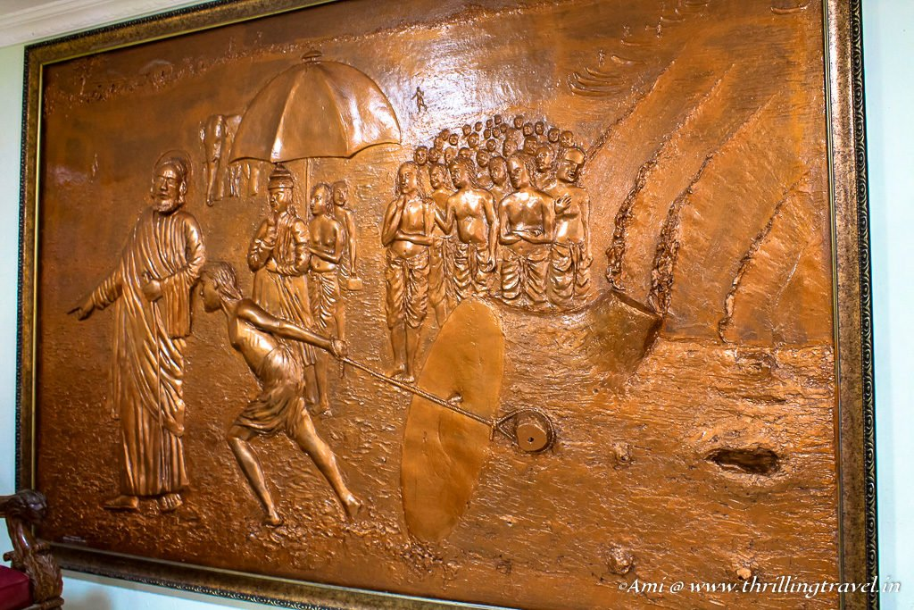 Bronze art depicting a scene from St.Thomas's life at the Santhome church
