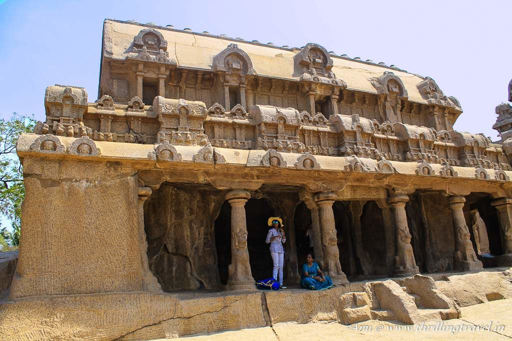 The front face Bhima's Ratha with its seated lion pillars and cavern
