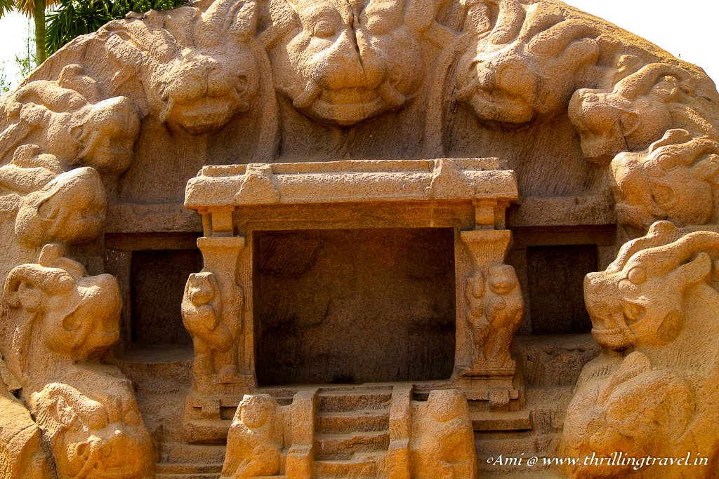 Close up of the Tiger Caves in Mahabalipuram