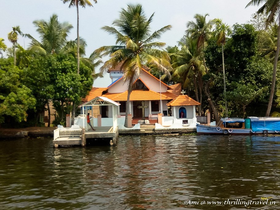 A church in Alleppey along the backwaters