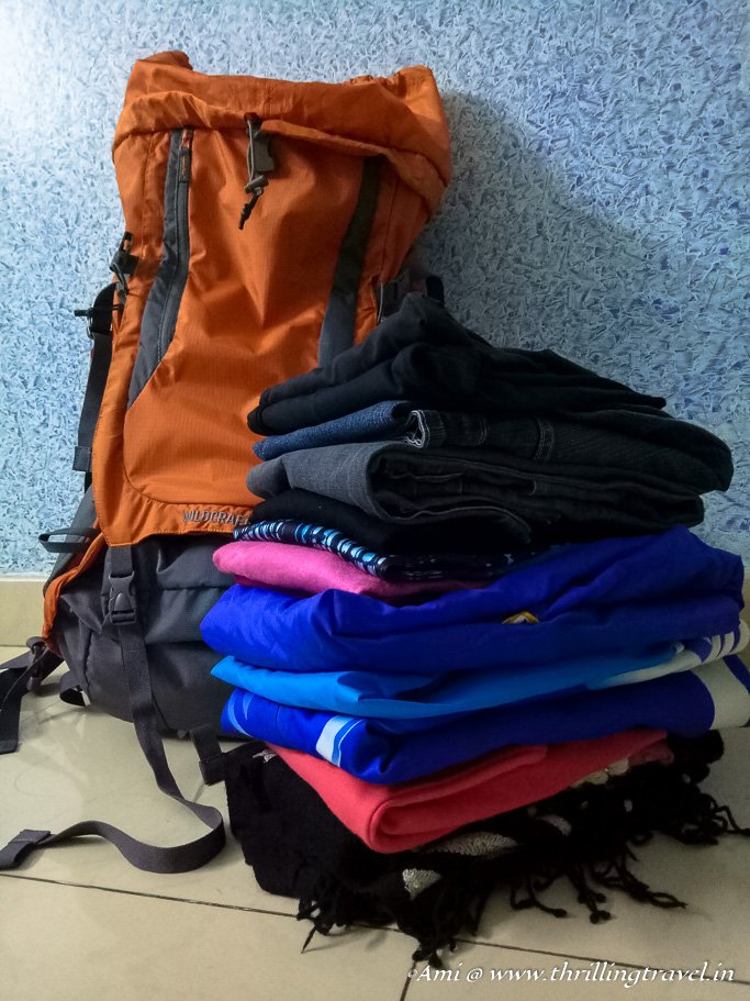 Fitting in different clothes into the Wildcraft Rucksack