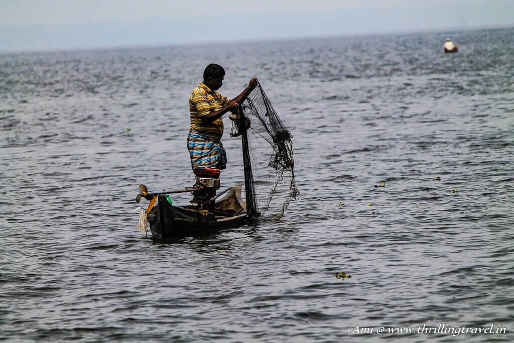Fishing in the backwaters of Kerala