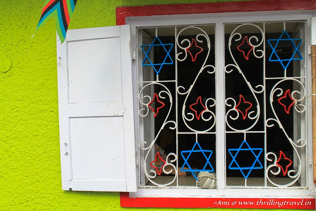 The Star of David on the windows of Sarah Cohen's house in Jew Town