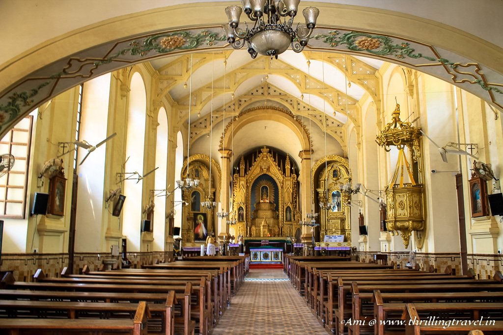 The interiors of Mae De Deus Church in Goa