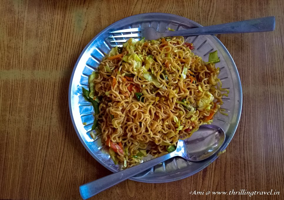 The Veg Chowmein in one of the restaurants along our roadtrip to Nepal