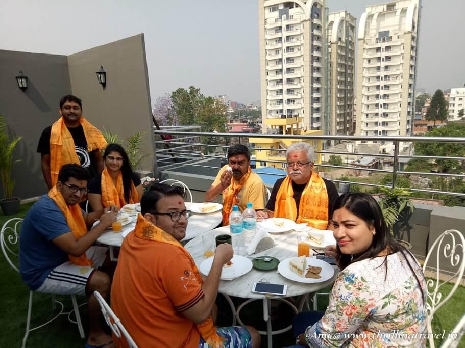 Breakfast time at the Rooftop in Oyo Rooms, Kathmandu