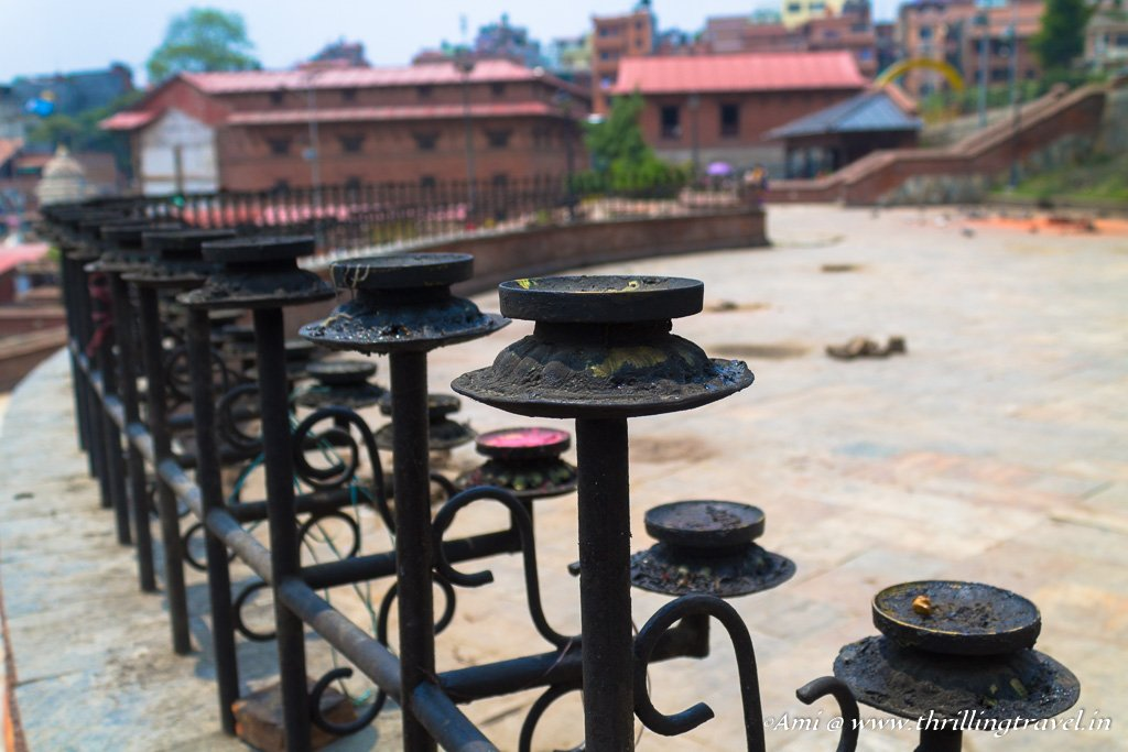 Candles along the gates of Pashupatinath temple