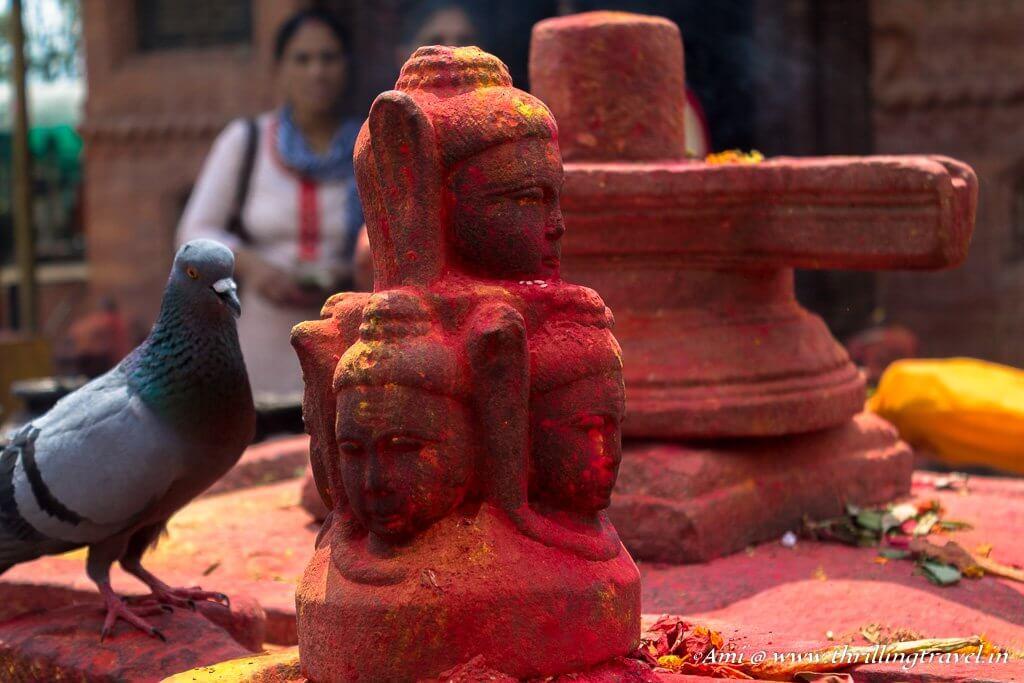 The linga at the Budhanilkantha temple in Kathmandu.