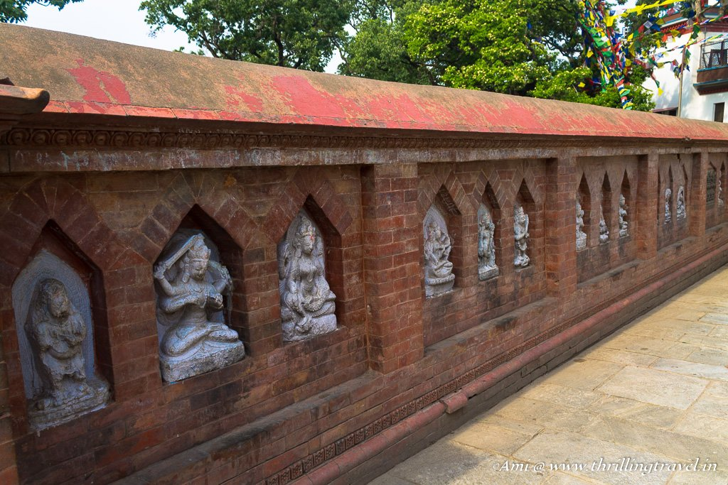 The Hindu idols along the walls