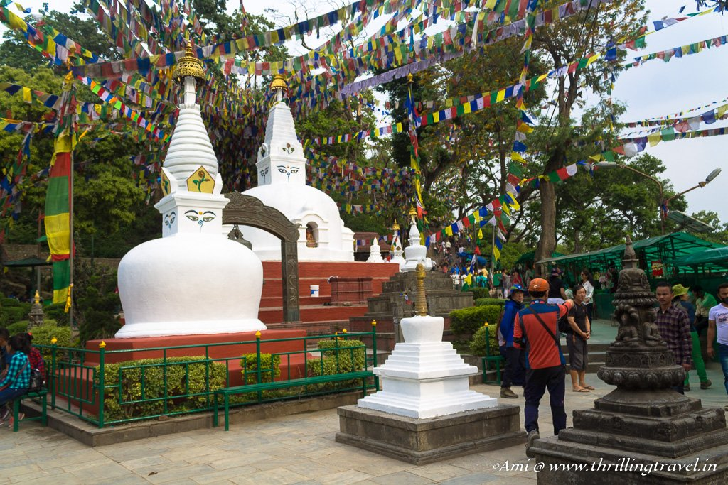 The other smaller stupas at the Swayambhunath temple