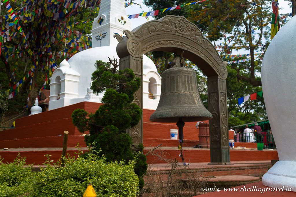 The huge bell at the Swayambhunath temple