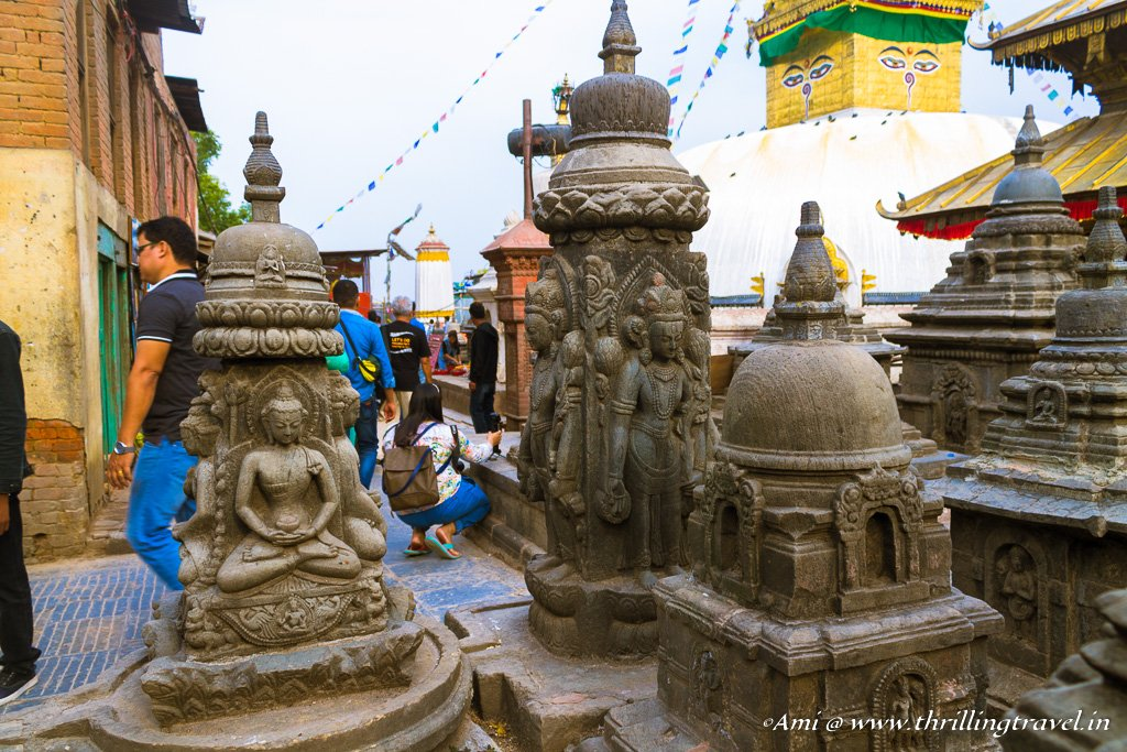 The various shrines at the Swayambhunath Chaitya