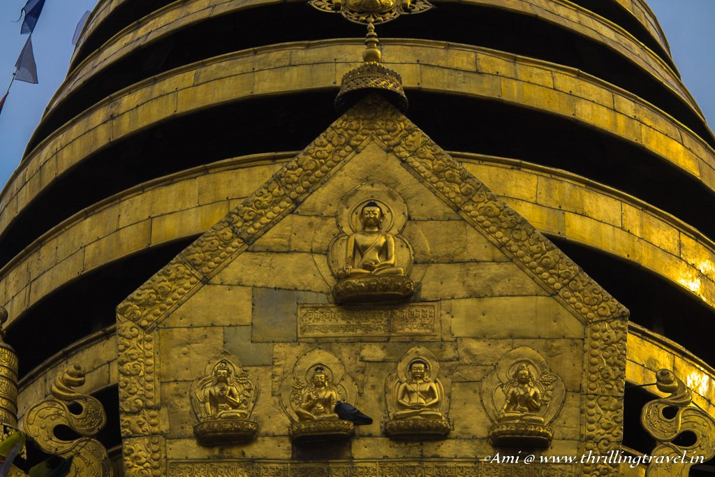 The 5 Buddha figurines on the Swayambhunath Stupa representing the 5 senses