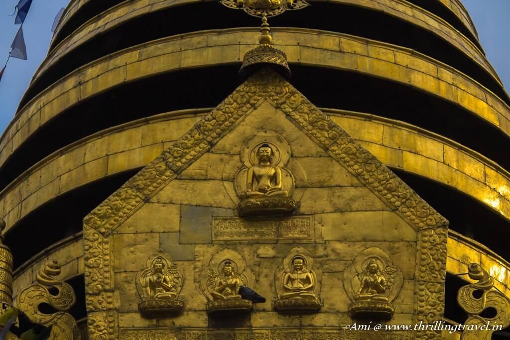 The 5 Buddha figurines on the Swayambhunath Stupa representing the 5 senses