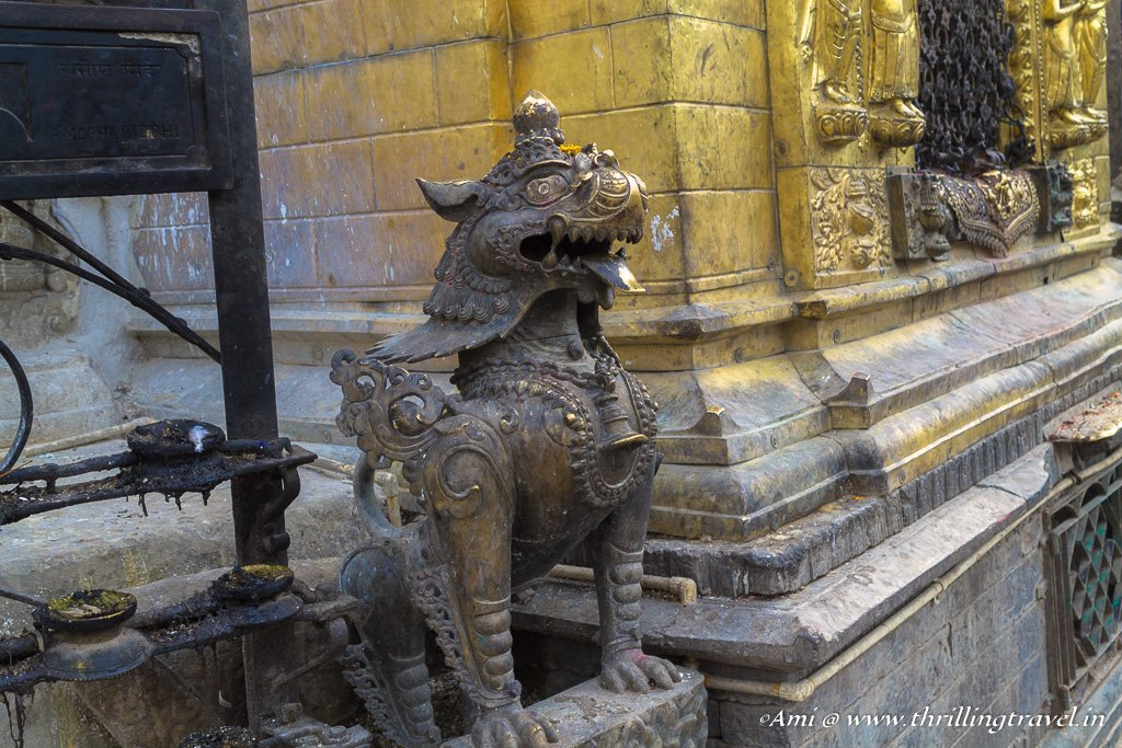 The guardian lion at the top of the 365 steps to the Swayambhunath temple