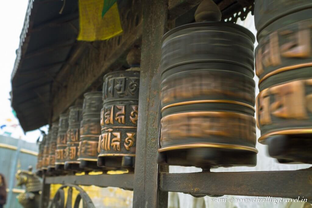 Prayer wheels around the Swayambhunath Stupa
