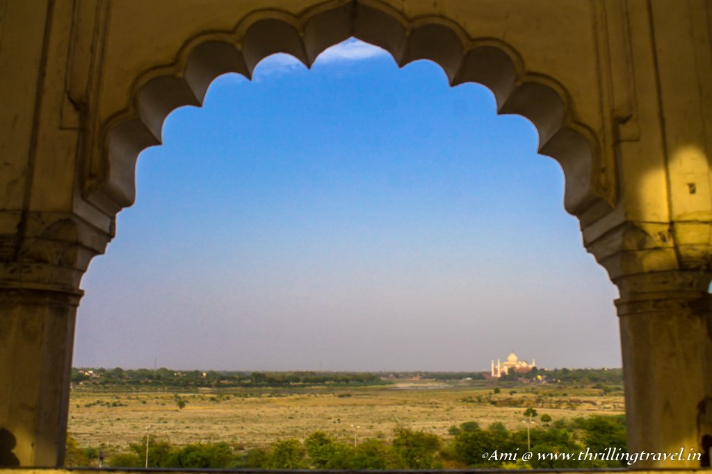 A glimpse of the Taj Mahal from the Red Fort, Agra