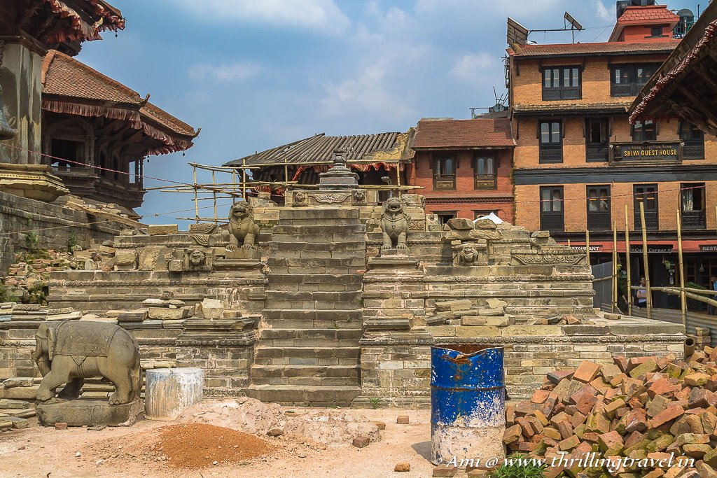 The collapsed Krishna temple with only the guardian Elephants remaining