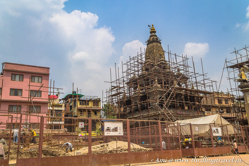 The Char Narayan Temple that is completely destroyed and Krishna temple next to it under restoration