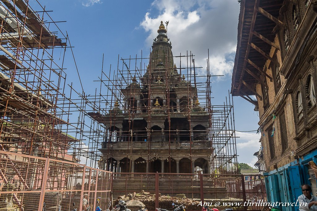 The restoration work happening at Krishna Temple in Patan Durbar Square