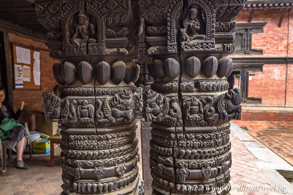Carved pillars of Keshav Narayan Chowk in Patan Durbar Square