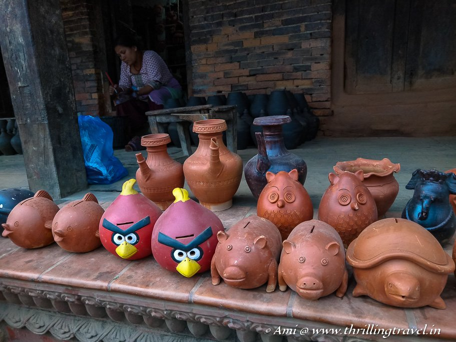 Finished earthen wares on sale in the Bhaktapur Pottery Square, Kathmandu