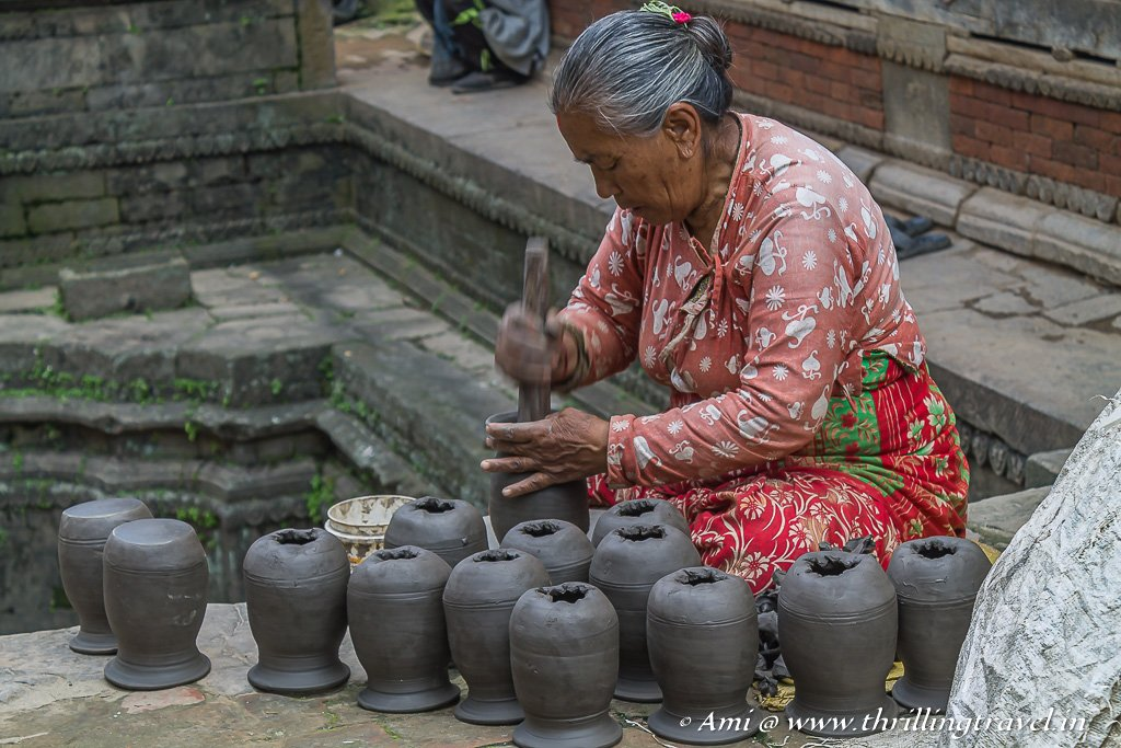 Moulding of the clay pots in Bhaktapur Durbar Square