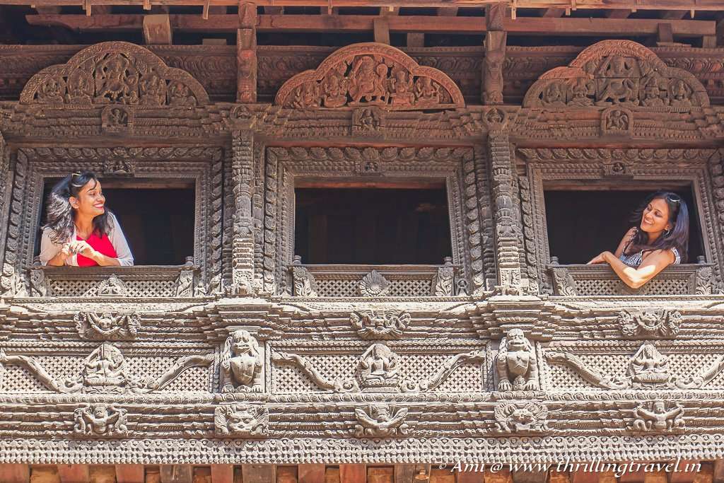 Picturesque windows of the Royal Palace of Patan