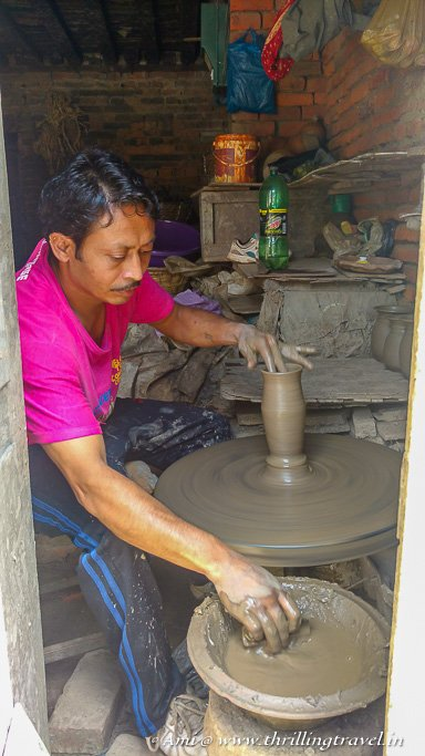 Potter at work in the Bhaktapur Pottery Square
