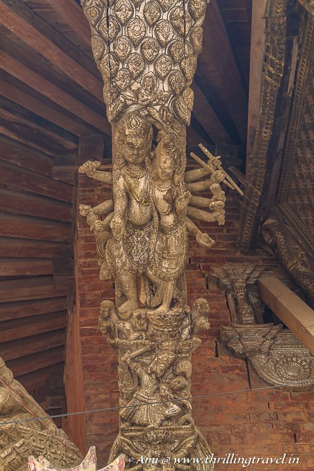 Carved pillars of the Bhimsen Temple, Patan