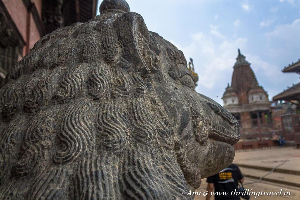Lion guarding Keshav Narayan Chowk