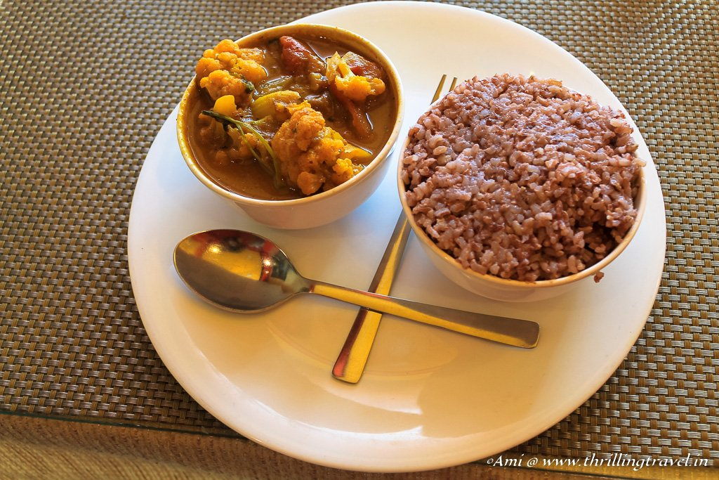 Red Rice and Vegetable - Part of the Khasi vegetarian food in Meghalaya