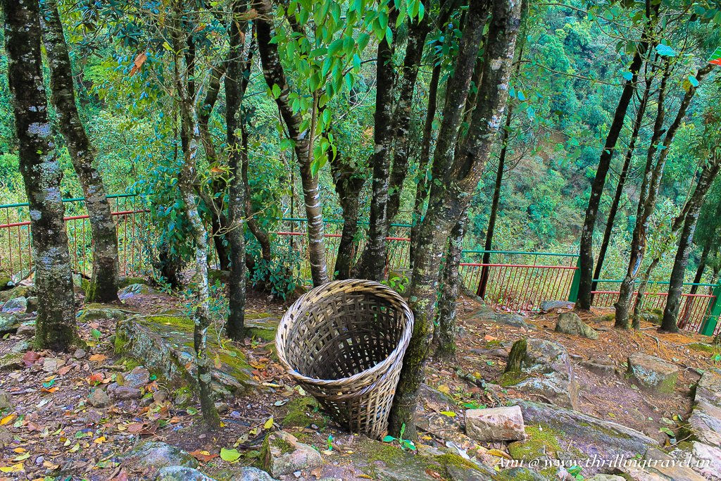 Bamboo dustbins kept in every corner in Meghalaya