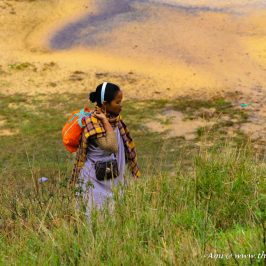 A Khasi lady in Jainsem going about her work in Meghalaya