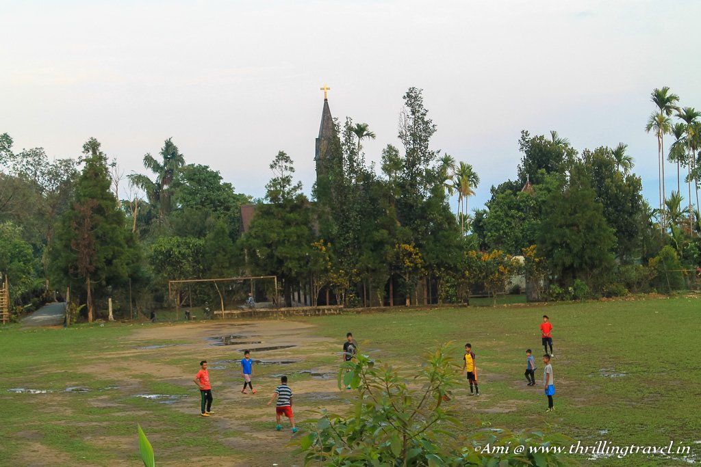 Football game in progress in Mawlynnong