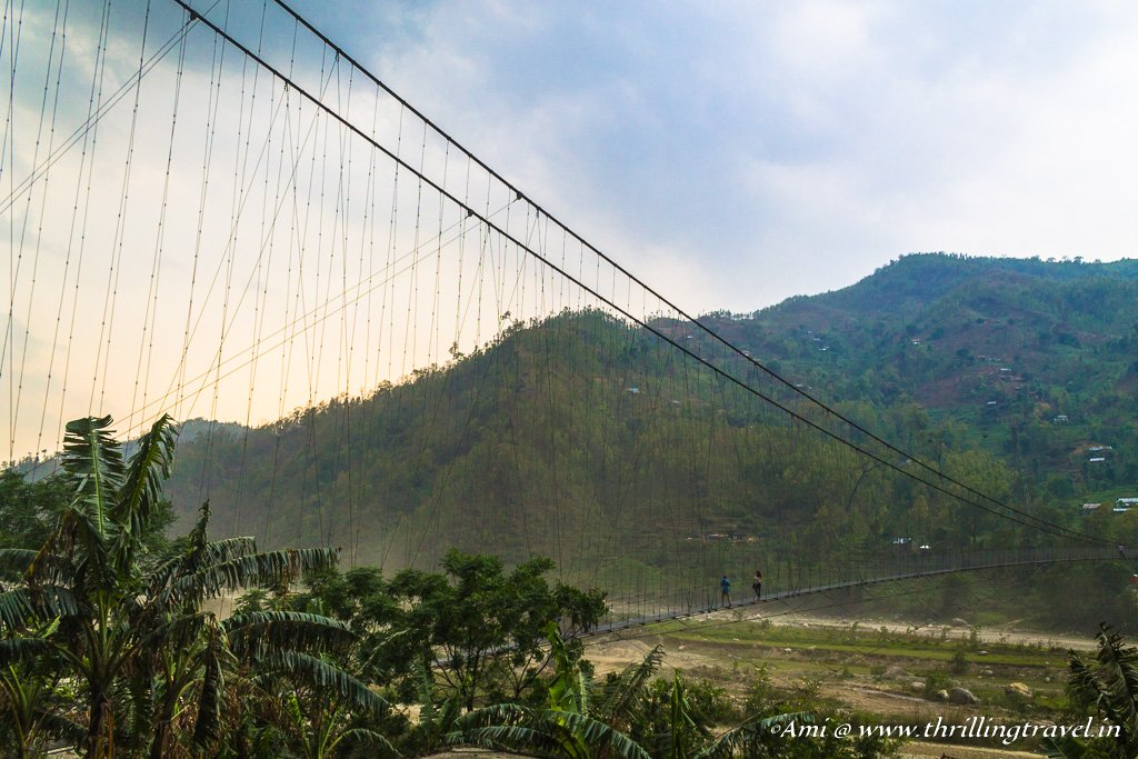 The lovely hanging bridge in Nepal - spotted along our forced detour on the road trip
