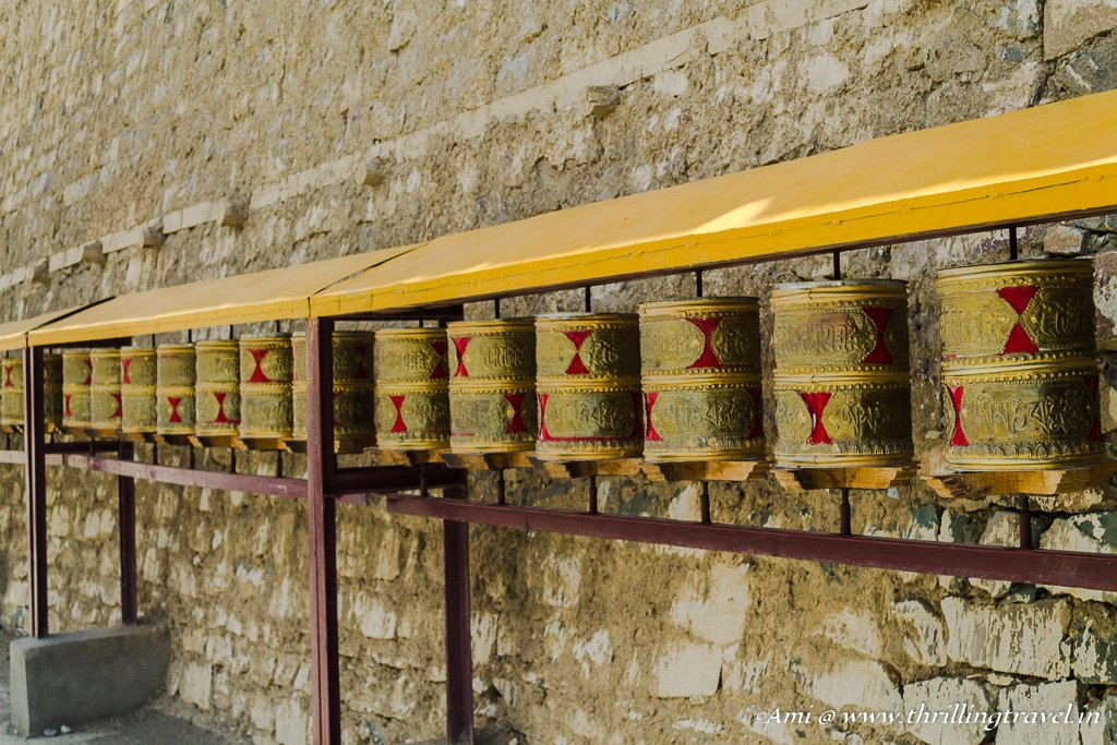 The Prayer wheels at the entrance of Lamayuru monastery