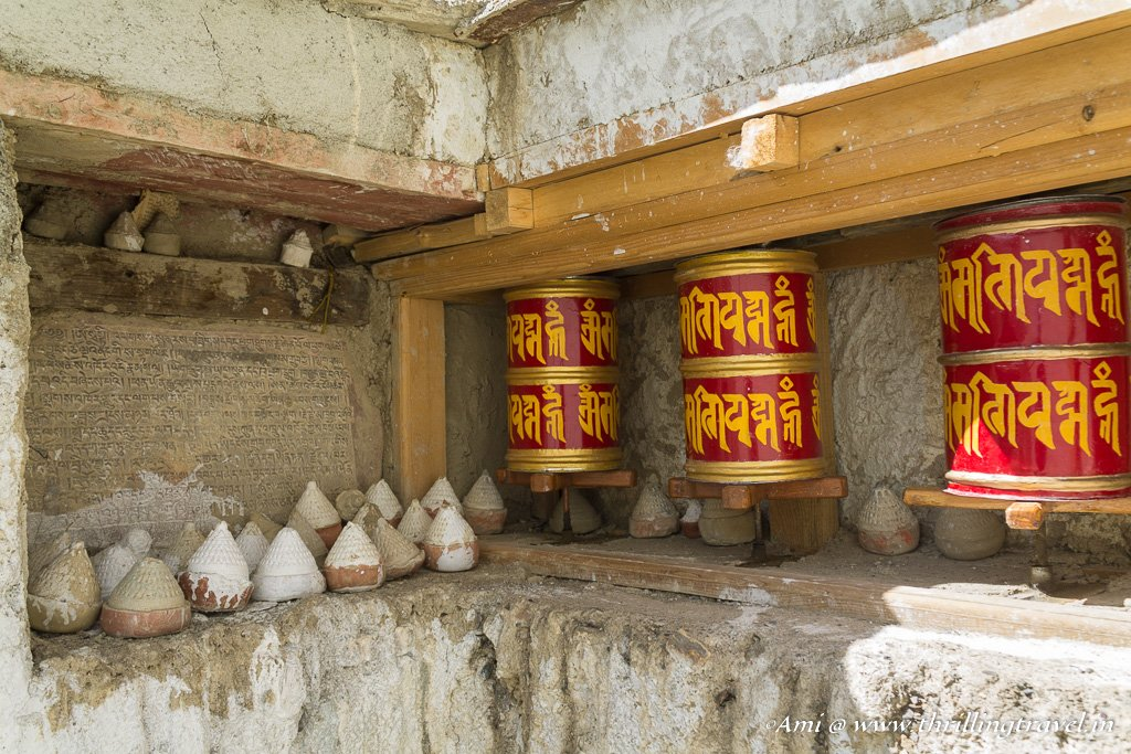 The white capsules kept in the Old Gompa at Lamayuru Monastery