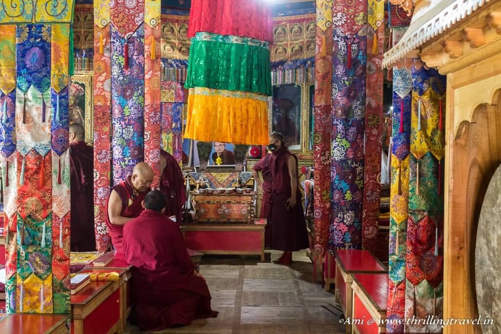 Colorful interiors of the Assembly hall at Lamayuru Monastery