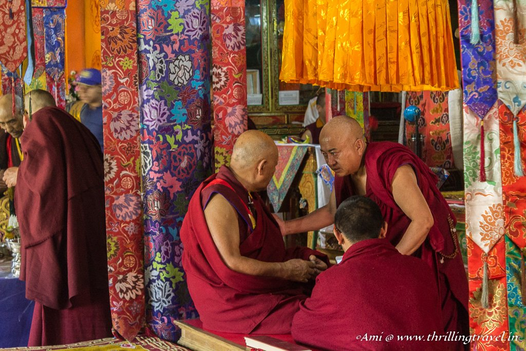 Monks consulting over the Mandala Ceremony at Lamayuru Monastery