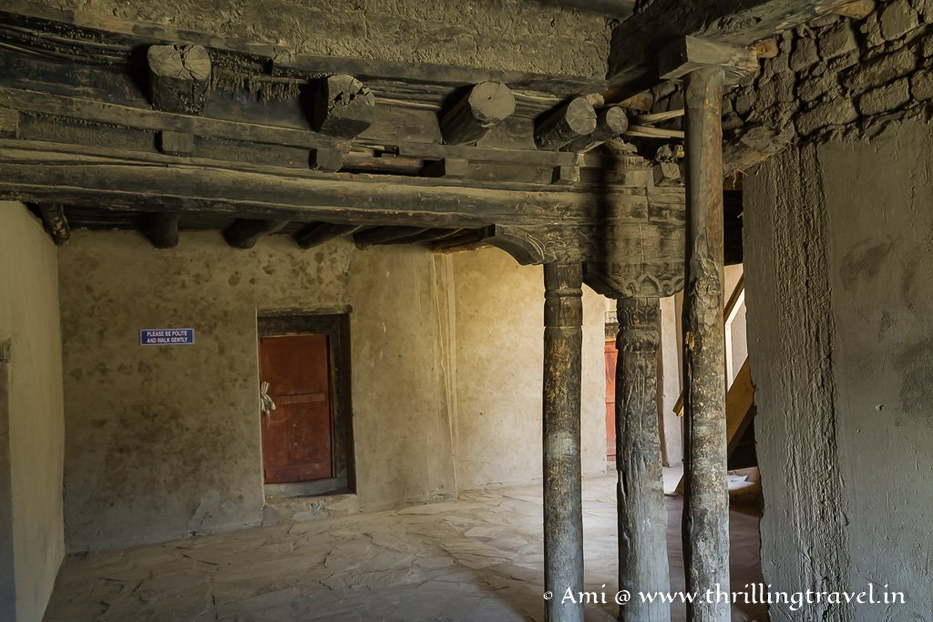 A glimpse of the stone & wood interiors of Leh Palace