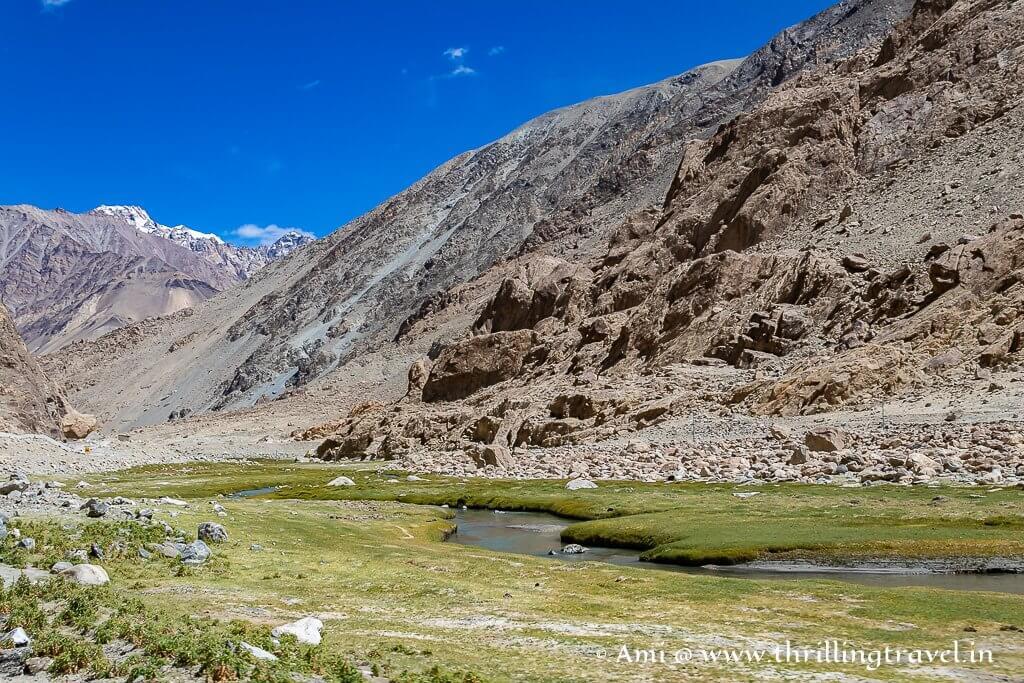 The pretty river near the Tangtse village in Ladakh