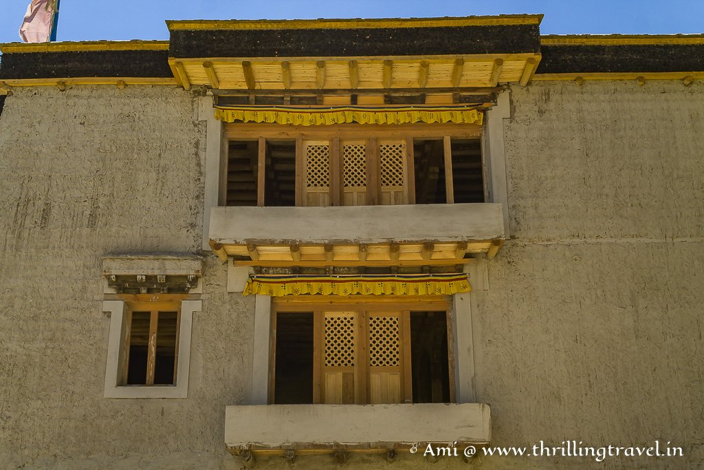 Close up of the wooden & stone Leh Palace